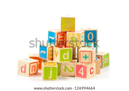 Wooden alphabet blocks. - stock photo