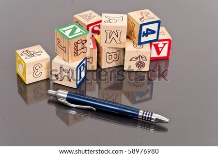 Wooden Alphabet Blocks - stock photo