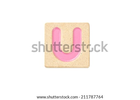 Wooden alphabet blocks,alphabet letter U - stock photo