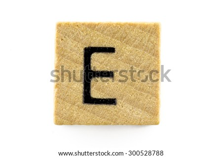 Wooden alphabet blocks with letters E (Isolated) - stock photo