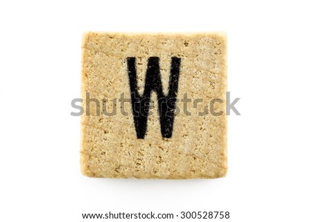 Wooden alphabet blocks with letters W (Isolated) - stock photo