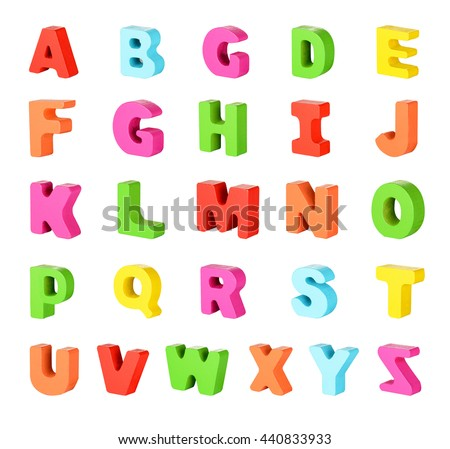 Wooden alphabet  for children. isolated on white background with clipping path