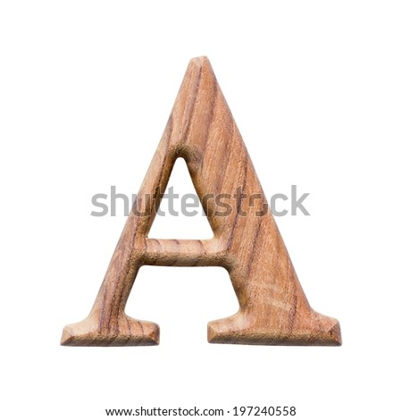 Wooden alphabet isolated on white background ,letter A - stock photo