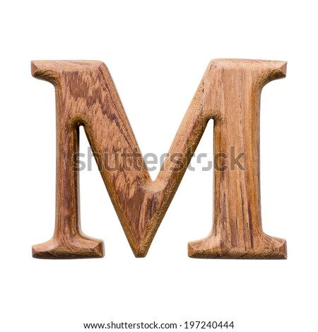 Wooden alphabet isolated on white background ,letter M - stock photo