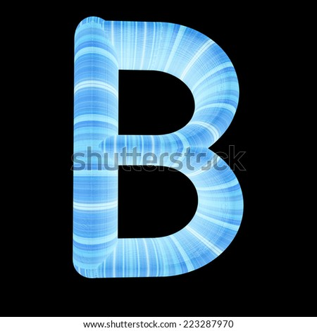 "Wooden Alphabet. Letter ""B"" on a black background"
