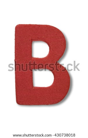 Wooden alphabet letter with drop shadow on white background, B - stock photo