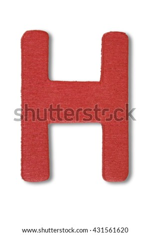 Wooden alphabet letter with drop shadow on white background, H - stock photo