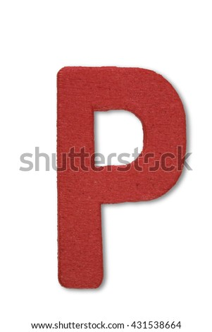 Wooden alphabet letter with drop shadow on white background, P - stock photo