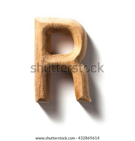 Wooden alphabet letter with drop shadow on white background, R