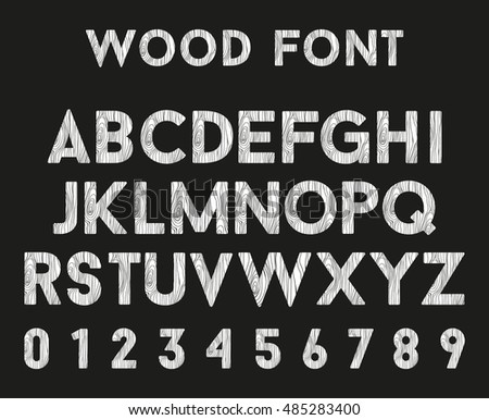 Wooden alphabet with letters and numbers. Font in wood style.