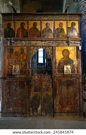 Wooden altar in old church in Guzelurt, North Cyprus                                - stock photo