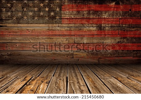 Wooden American Vintage Stage Background. Stage with Painted Aged American Flag Paint. - stock photo