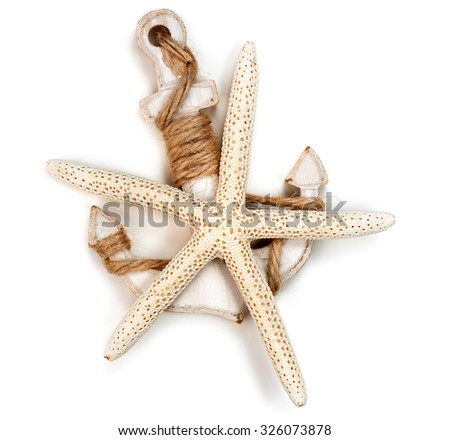 wooden anchor and sea star isolated on white background - stock photo