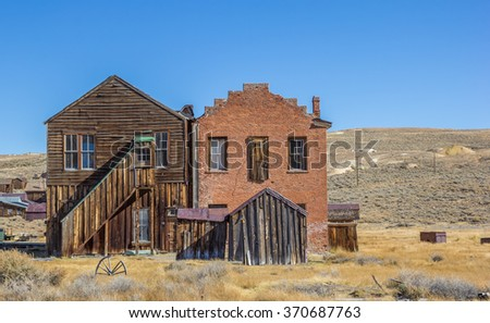 Wooden and brick building in Bodie State Park, California, America