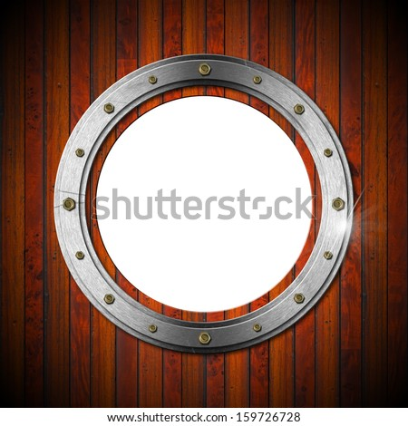 Wooden and Metallic Porthole / Metallic porthole with bolts on a brown wooden wall with empty hole  - stock photo