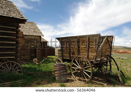 Wooden Antique Covered Wagon - stock photo