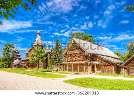Wooden architecture Vitoslavlitsy village street house Church Veliky Novgorod Russia hut  village  Ryshevo Novgorod district - stock photo