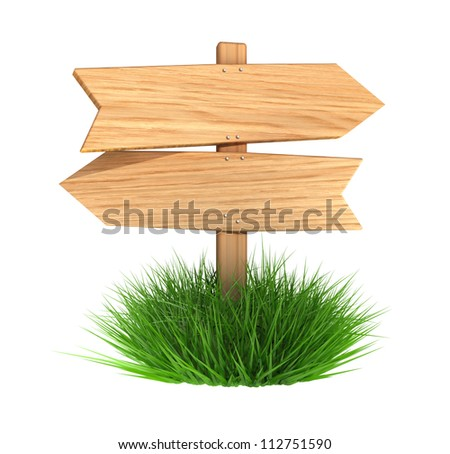 Wooden arrow board with grass, isolated on white background