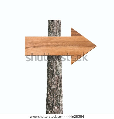 Wooden arrow sign board texture and background isolated on white background.