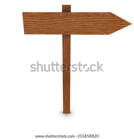 Wooden Arrow Sign Pointing Right - stock photo