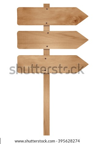 Wooden arrow sign post isolated on white - stock photo
