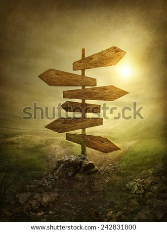 Wooden arrows road sign in the magic dark forest - stock photo