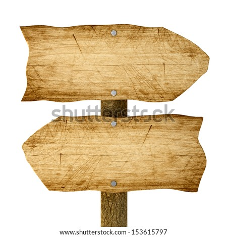 Wooden arrows road sign isolated