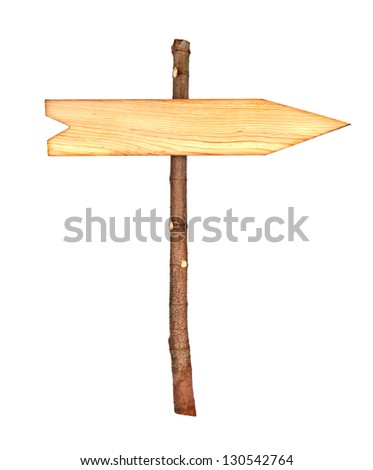 wooden arrows road sign isolated on white - stock photo