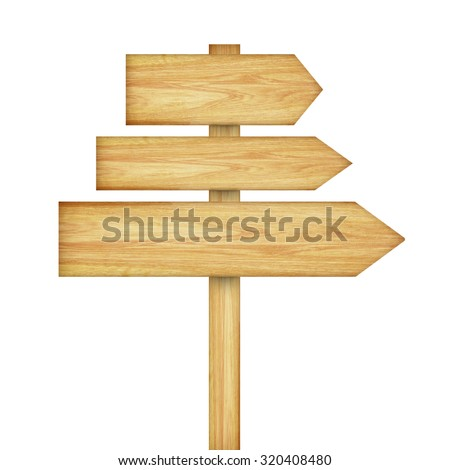 Wooden arrows road sign isolated on white background - stock photo