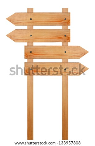 Wooden arrows  sign - stock photo
