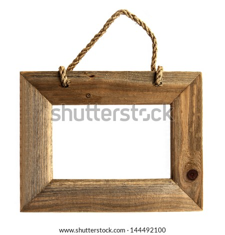 Wooden, art, picture frame - isolated on white background, rustic vintage wood - for art design. - stock photo