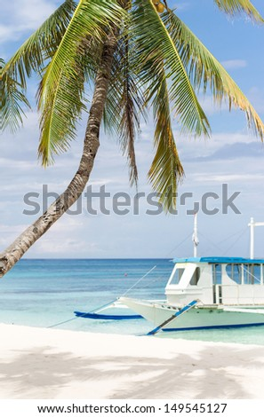 Wooden asian boat on tropical beach with palm and white sand, Philippines, Boracay