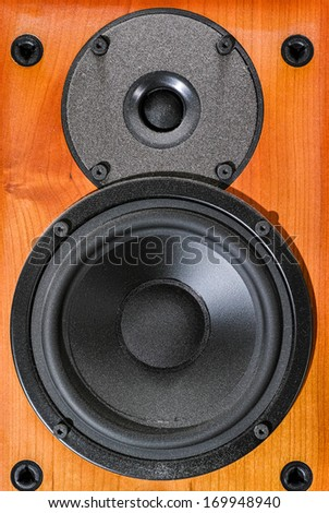 Wooden audio speaker - stock photo