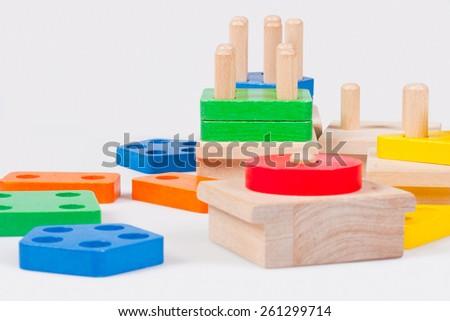 Wooden baby blocks - stock photo