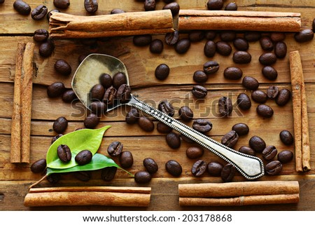 wooden background coffee grains