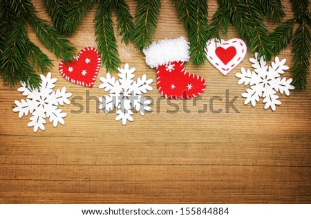 wooden background with Christmas border - stock photo