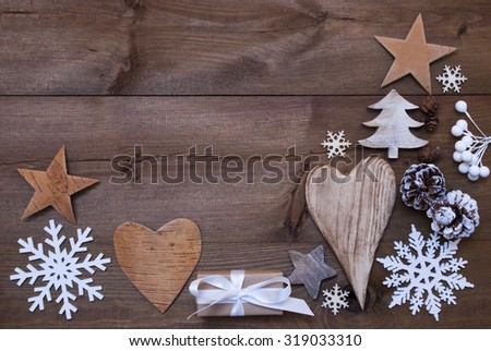 Wooden Background With Many Christmas Decoration.Christmas Gift, Christmas Present, Heart, Snowfalke, Fir Cone, Star, Christmas Tree. Copy Space, Free Text Or Your Text Here. Rustic Or Vintage Style