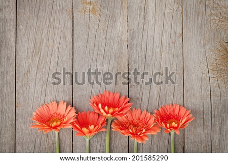 Wooden background with orange gerbera flowers and copy space - stock photo