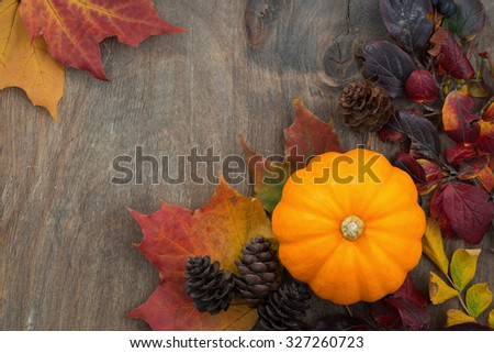 wooden background with seasonal pumpkin and leaves, top view, closeup, horizontal