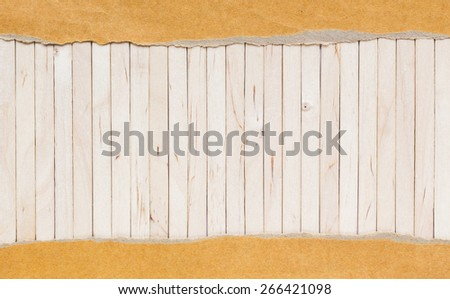 wooden background with torn paper background for add text message - stock photo