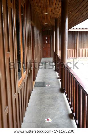 Wooden balcony - stock photo