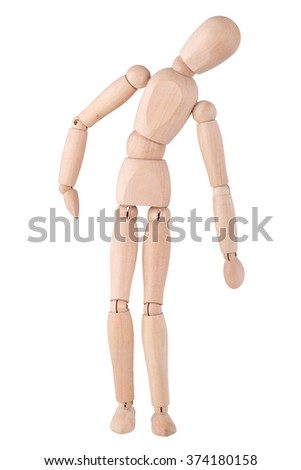 Wooden ball-jointed doll isolated on white background demonstrates tilts to the side - stock photo