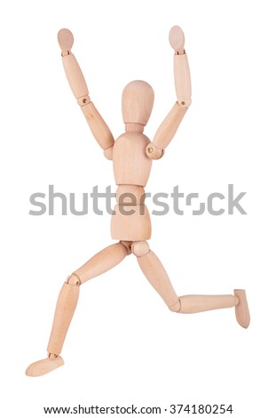 Wooden ball-jointed doll isolated on white background shows a man running with their hands up - stock photo