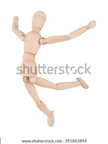 Wooden ball-jointed doll isolated on white background shows cheers person - stock photo