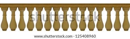 Wooden balustrade isolated on white - stock photo