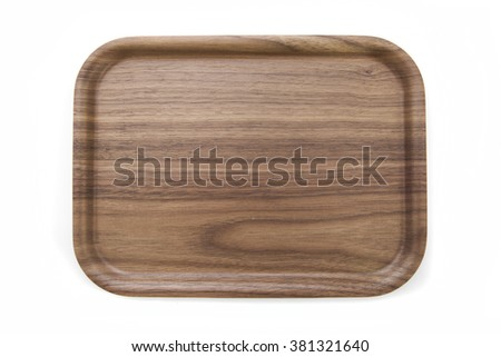 wooden bamboo plate - stock photo