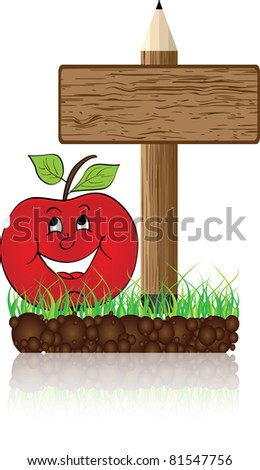 wooden banner with apple