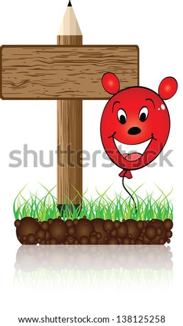 wooden banner with balloon