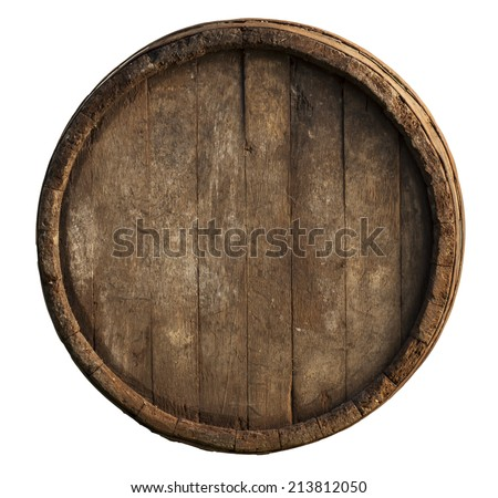 Wooden barrel for wine with steel ring. Clipping path included. - stock photo