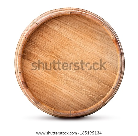 Wooden barrel isolated on a white background - stock photo